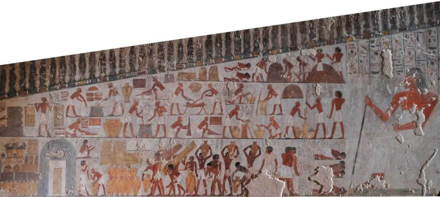 On this wall painting in the tomb of Vizier Rekhmire, a high-ranking ancient Egyptian official from the 15th century B.C., the first two rows show peasants measuring and preparing tiger nuts.
