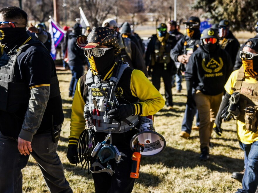 "Public Safety Canada is calling the Proud Boys a terrorist group, noting that last month, its members ""played a pivotal role in the insurrection at the U.S. Capitol."" Here, Proud Boys members join Donald Trump supporters at a protest outside the Colorado State Capitol in Denver."
