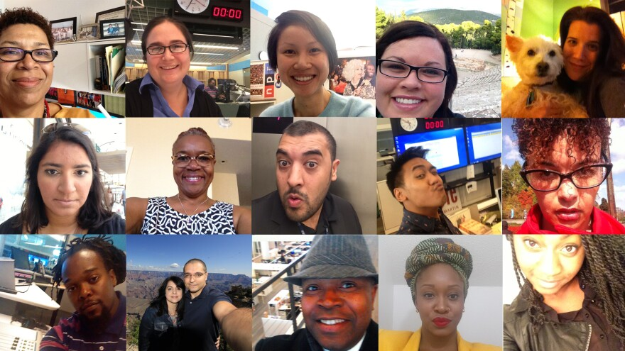 """<em>Tell Me More</em> staff and friends pose for """"selfies."""""""