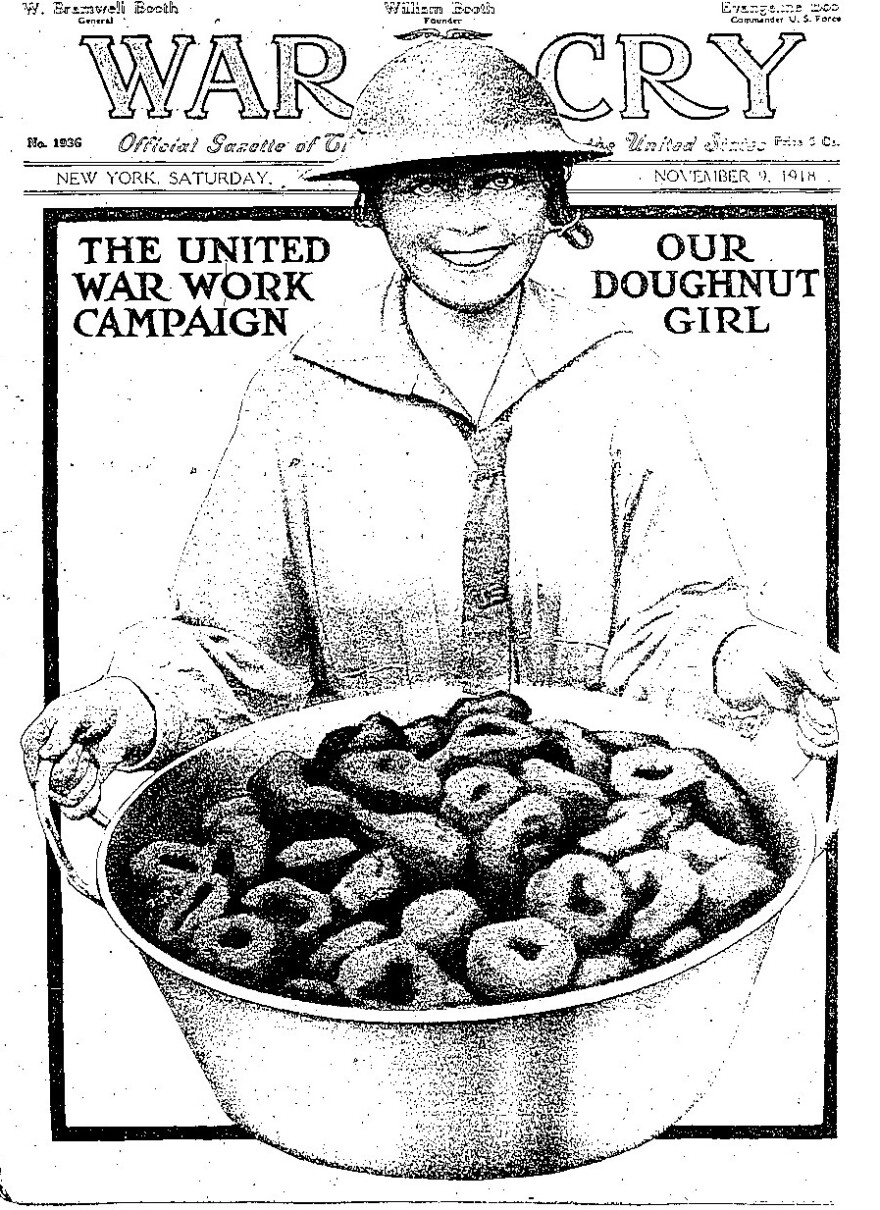"""The cover of the Salvation Army's <em>War Cry</em> magazine from 1918 commemorates the """"Doughnut Girl."""""""