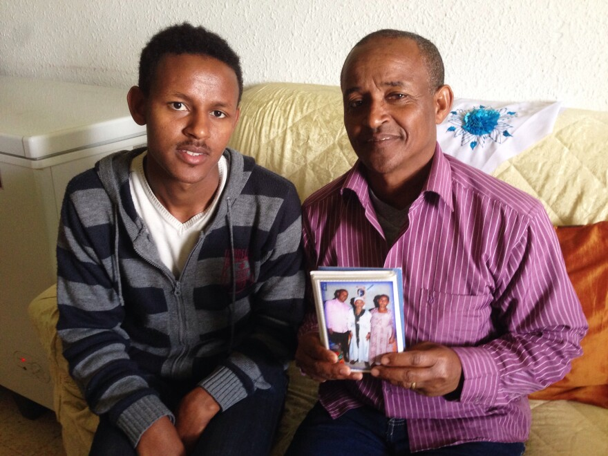 Habtu and his father Tachelo — Derebe's cousin and uncle — live outside Tel Aviv. They came in 2003 thinking the rest of the family would follow. Now Tachelo says he supports the Ethiopian branch of his family with his salary as a worker in an Israeli hospital kitchen.