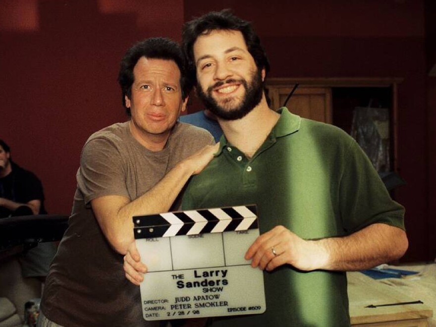 Apatow (right) was the co-showrunner for the final season of <em>The Larry Sanders Show</em>, which Shandling created.