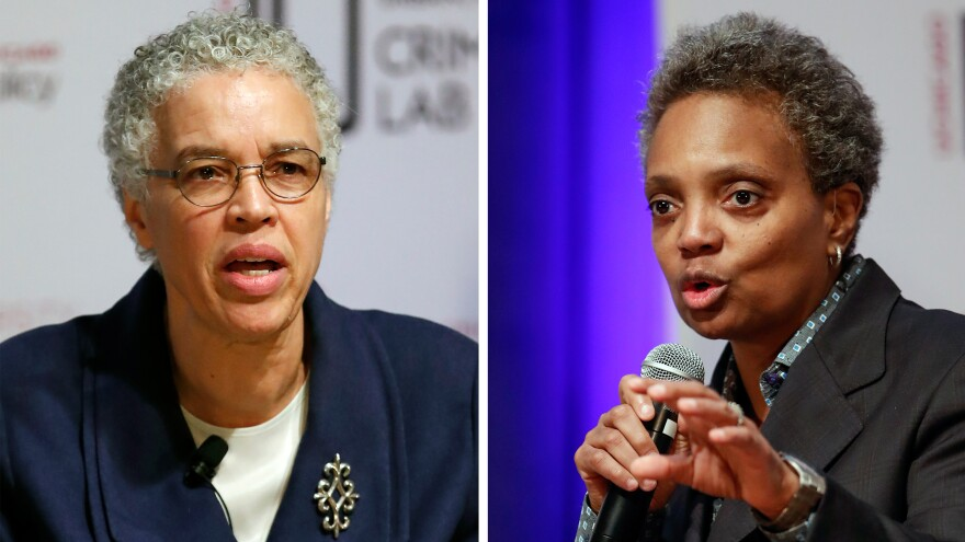 Chicago mayoral candidates Lori Lightfoot (right), who won the election on Tuesday, and Toni Preckwinkle speak during a March 13 forum on crime and violence.