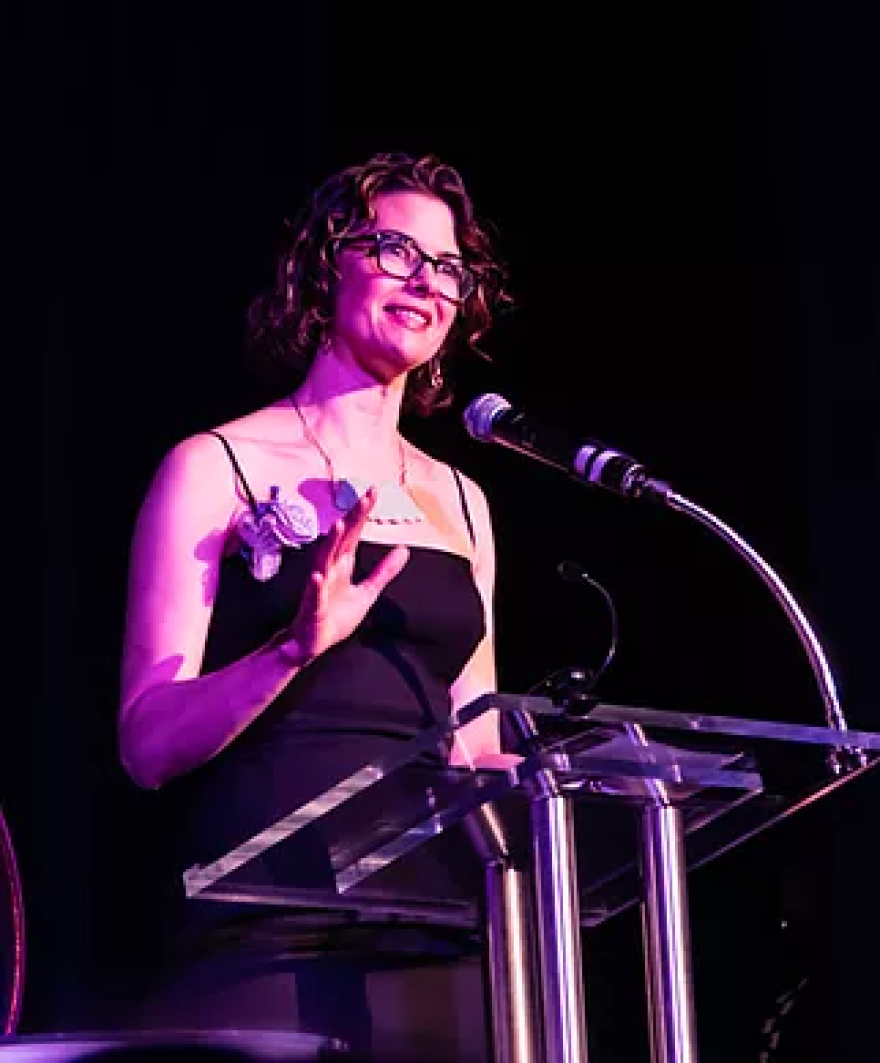 File photo. Playwright Nancy Bell accepts the Outstanding Theater Professional award at the 2017 Visionary Awards ceremony.