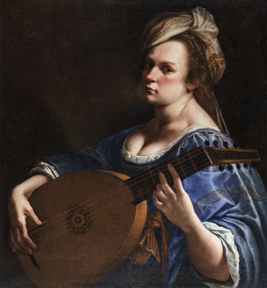 Artemisia Gentileschi painted this <em>Self-Portrait as a Lute Player </em>during her years living in Florence.