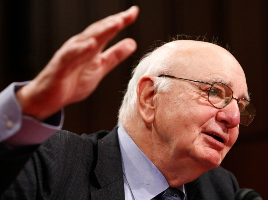 Paul Volcker testifies before the Joint Economic Committee in 2008.