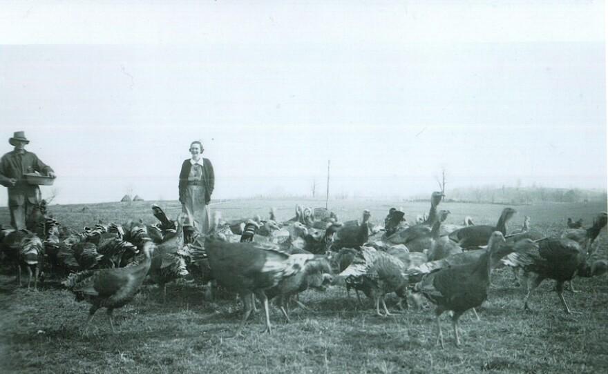 Minnie-Burwell-with-her-turkeys-Hazel-Shraders-mother.jpg