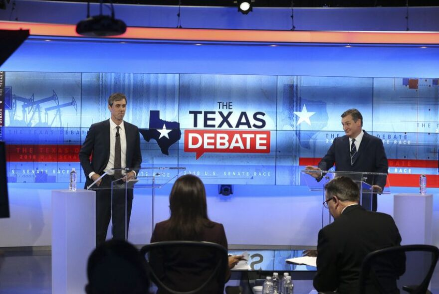 Democratic challenger Beto O'Rourke, on left, and incumbent Sen. Ted Cruz participated in a debate Tuesday in San Antonio.