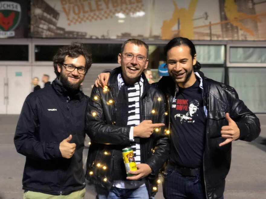 Thomas Erdmann (center) poses with friends before attending David Hasselhoff's concert in Berlin on Oct. 3. Erdmann spent hours constructing a replica of the jacket his boyhood hero wore while singing at the Berlin Wall in 1989. Erdmann, who was raised in East Berlin, believed that Hasselhoff was responsible for the fall of the wall.
