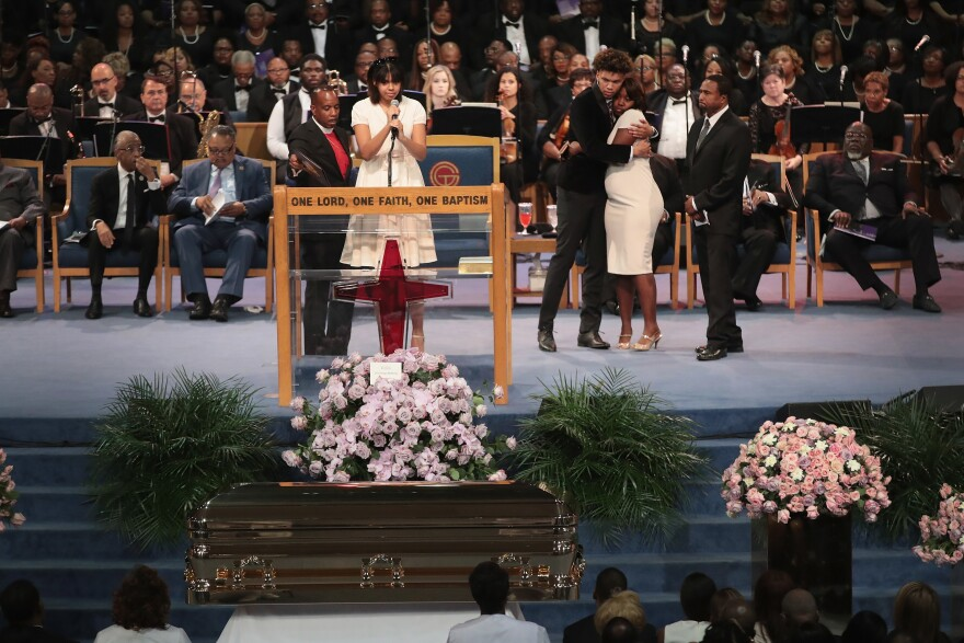 """Victorie Franklin spoke at the funeral. """"I remember when I was a kid, people used to always ask me, 'What does it feel like to be Aretha Franklin's granddaughter?' """" she said, according to CNN. """"I would always shrug my shoulders and go, 'I don't know. It's just my grandma.' """""""