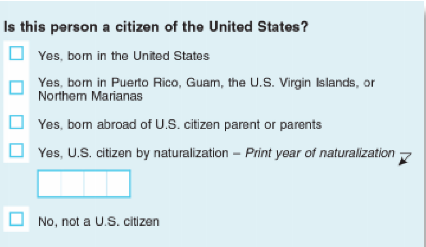 The citizenship question proposed for the 2020 Census.