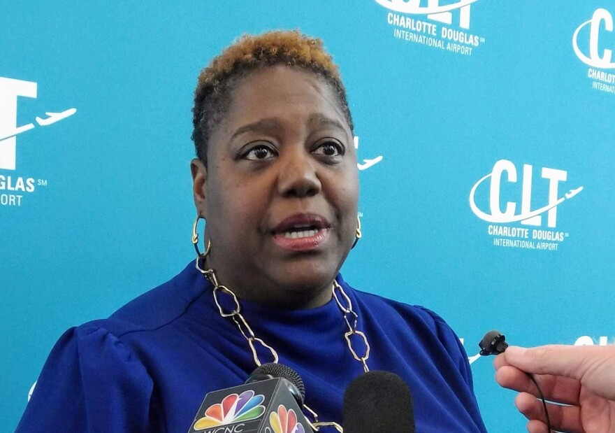 City council member Lawana Mayfield talked to reporters Wednesday about her opposition to Charlotte's bid for the 2020 Republican National Convention.