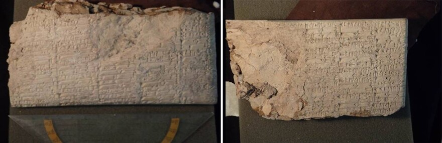 """Cuneiform tablets that likely originated in Iraq were smuggled into the U.S. and shipped to Hobby Lobby. The labels on the packages """"falsely described cuneiform tablets as tile 'samples,'"""" according to the Justice Department."""
