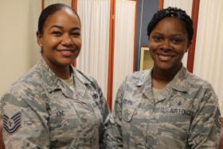 Air Force Tech Sergeants Jesseka King (left) and Ronneisha Sargent each experienced challenges nursing their children while on duty at Lackland Air Force Base.