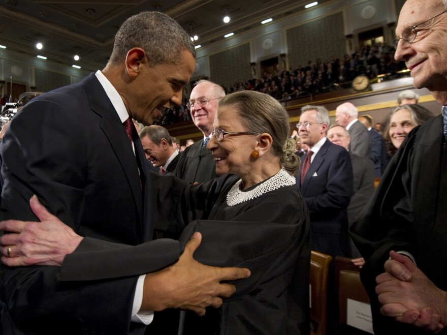 President Barack Obama greets Supreme Court Justice Ruth Bader Ginsburg prior to his State of the Union address on Jan. 24, 2012, at the Capitol in Washington. Ginsburg died on Sep 18, 2020 at 87.