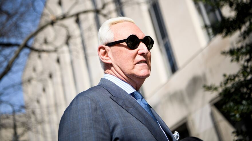 Roger Stone, arrives at the federal courthouse in Washington, D.C., on February 21, 2019.