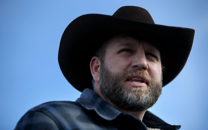 Ammon Bundy speaks to the media in front of the Malheur National Wildlife Refuge Headquarters on Jan. 6 near Burns, Ore. Bundy was arrested on Tuesday.