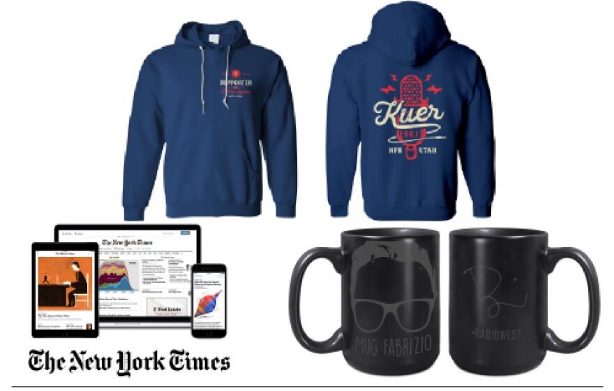 Photo of KUER's hoodie, Mug Fabrizio and the New York Times digital subscription.