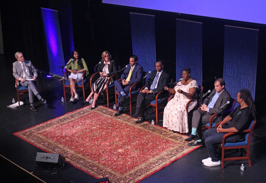 "At-large Democratic candidates for City Council participate in a ""Charlotte Talks"" forum Aug. 28."