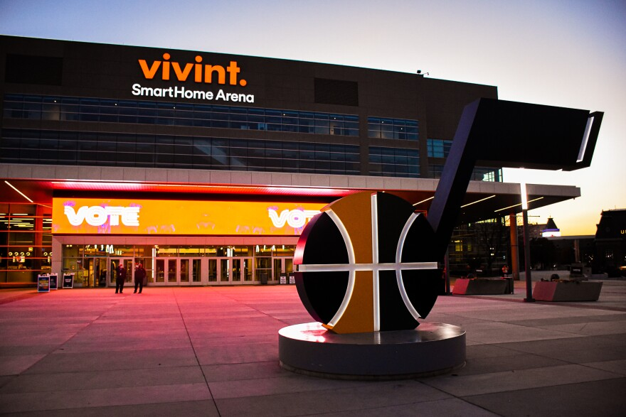 A photo of the Utah Jazz 'note' in front of Vivint SmartHome Arena.