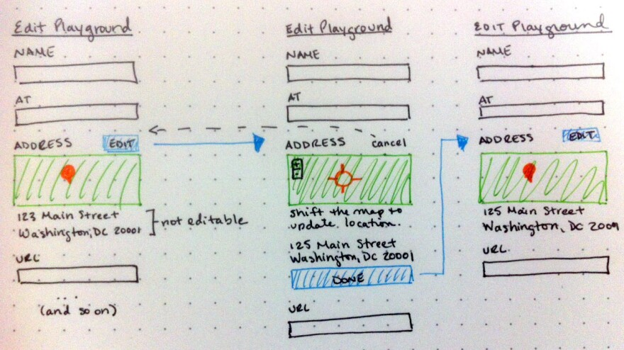 NPR designer Alyson Hurt's early sketch of the interface for editing accessible playgrounds.