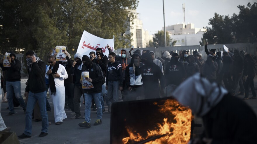 Bahraini protesters take part in a demonstration to mark the fifth anniversary of the country's Arab Spring-inspired uprising this past weekend. American journalists who were at one of the demonstrations were arrested.