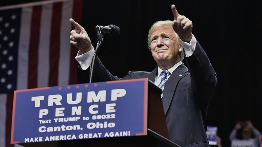 Republican presidential nominee Donald Trump speaks during a rally in Canton, Ohio, on Wednesday.