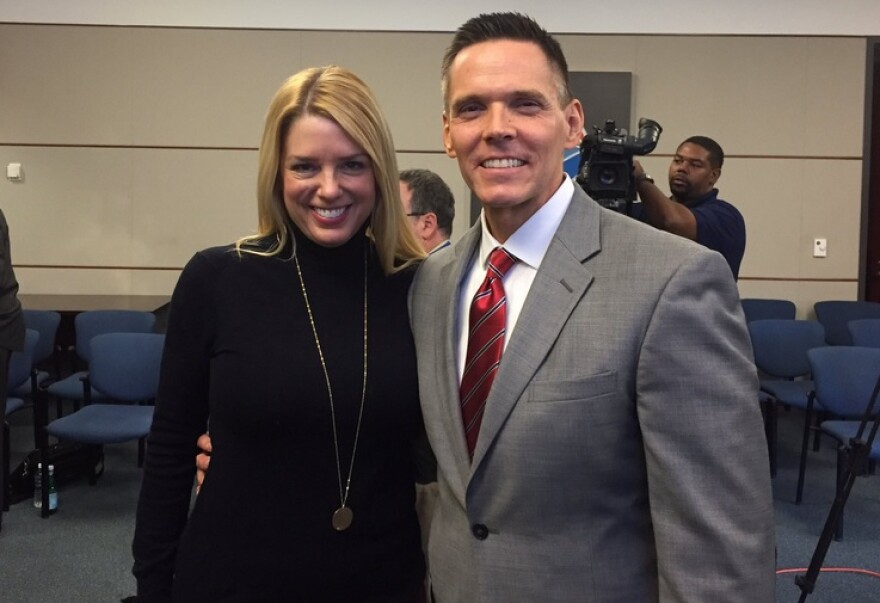 Rep. Ross Spano (R-Dover) with Florida's current Attorney General Pam Bondi (left) at a news conference earlier this year, highlighting a human trafficking ad campaign.