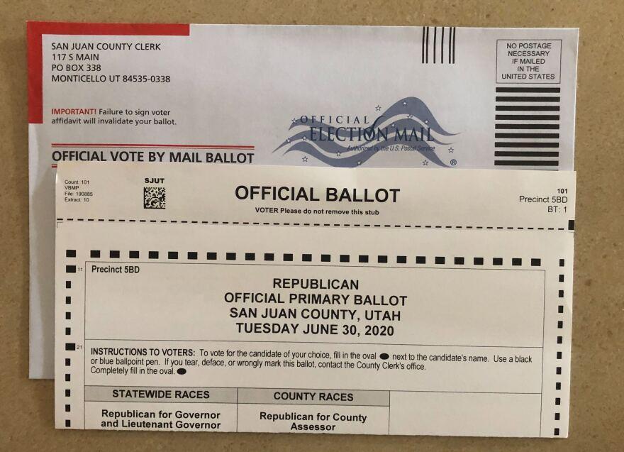 Photo of a San Juan County voting ballot