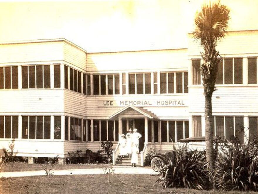 Lee Memorial Hospital at its first location at the corner of Victoria Avenue and Grand Avenue which served as the hospital's location from 1916 through 1943