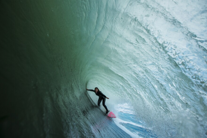 """When photographer Sachi Cunningham started photographing surfers two decades ago, there were very few women in the field. """"I wanted to take photos of women because I had never seen photos of women,"""" she says. Above, Cunningham's photo of Bianca Valenti at Ocean Beach, on Feb. 14, 2017"""
