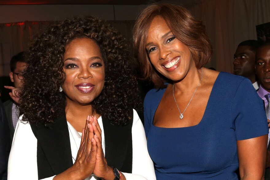 """Oprah Winfrey, left, and Gayle King attend the after-party for the premiere of the Oprah Winfrey Network's (OWN) documentary series """"Belief"""", at The TimesCenter on Wednesday, Oct. 14, 2015, in New York. (Photo by Greg Allen/Invision for The Hollywood Reporter/AP Images)"""