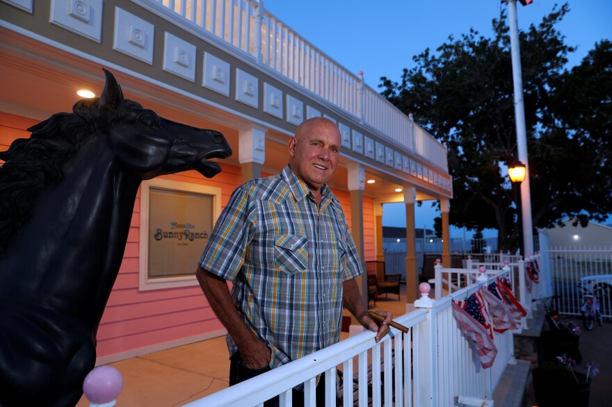 Dennis Hof, seen outside one of his brothels in Nevada earlier this year, was found dead Tuesday. Hof was a brothel owner who beat the three-term Republican candidate in the primary for a district in southern Nevada, a victory that roiled local politics and made national headlines.
