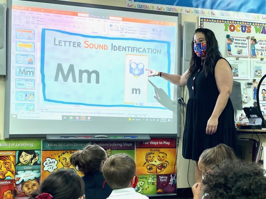 Lisa Reeb teaches kindergarten at Colvin Elementary School in Wichita. (Photo by Suzanne Perez)