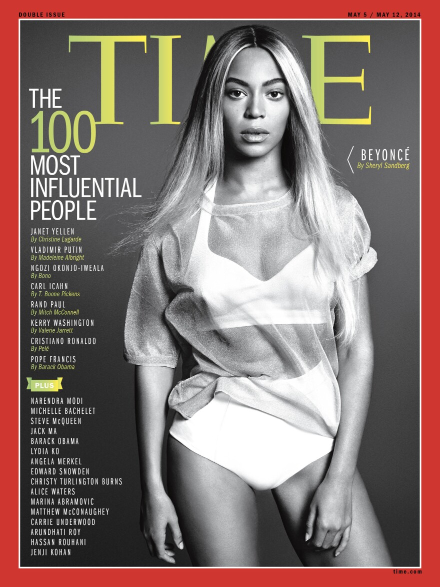 "This image released by <em>Time</em> shows entertainer Beyoncé on the cover of the magazine's ""100 Most Influential People"" issue."