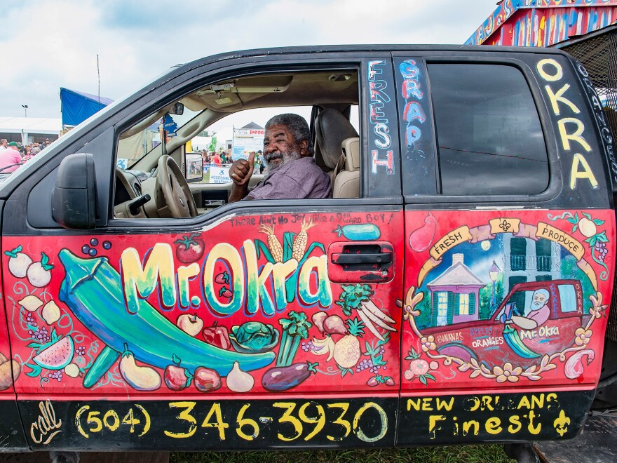 During the 2017 New Orleans Jazz & Heritage Festival last April, Mr. Okra drove his iconic produce truck and called out to customers.