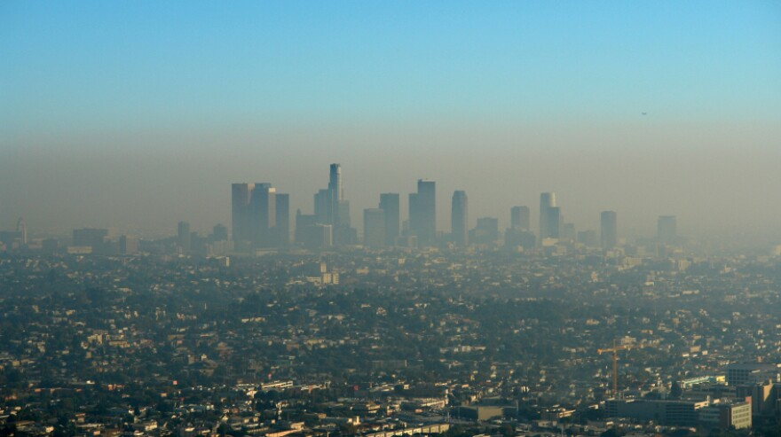 Can building exteriors really eat smog in cities like Los Angeles, pictured here?