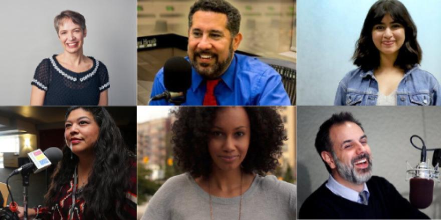 Hosts top row from left to right: Charity Nebbe (Iowa Public Radio), Luis Hernandez (WLRN Miami), Kavitha George (Alaska Public Media). Hosts bottom row from left to right: Tara Gatewood (Native America Calling), Ariana Proehl (KQED San Francisco), John Dankosky (New England Public Media),