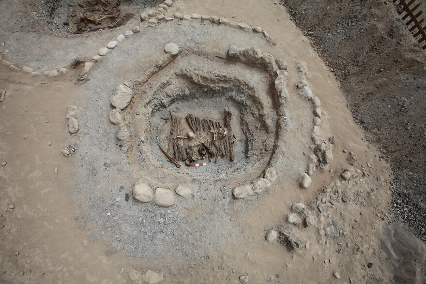 A site excavated at the 2,500-year-old Jirzankal Cemetery features stone rings.