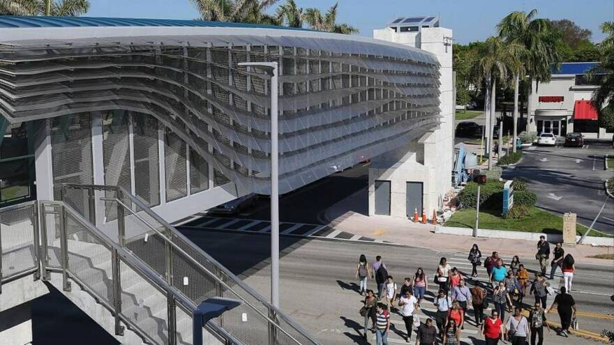The University Metrorail Station pedestrian bridge over South Dixie Highway. Local leaders are pushing to rename the road.