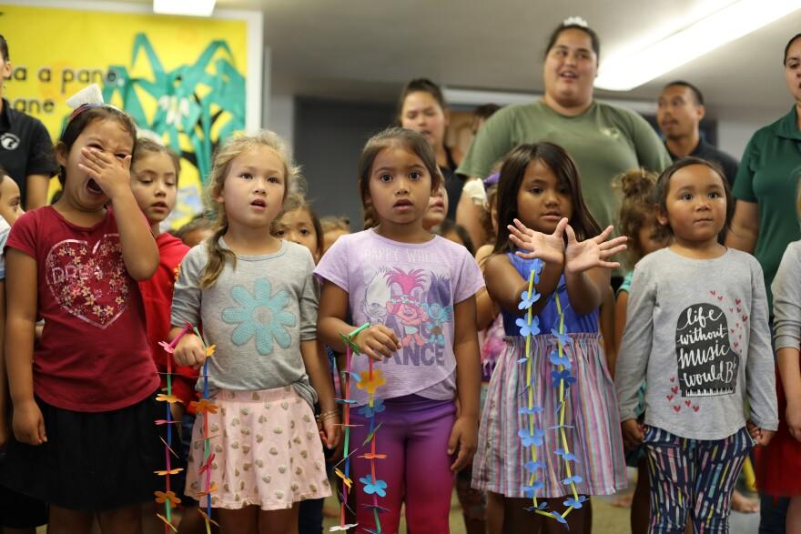 Pūnana Leo students (preschool) on the campus of Ke Kula 'O Nāwahīokalani'ōpuʻu K-12 public charter school in Hilo, Hawaii.