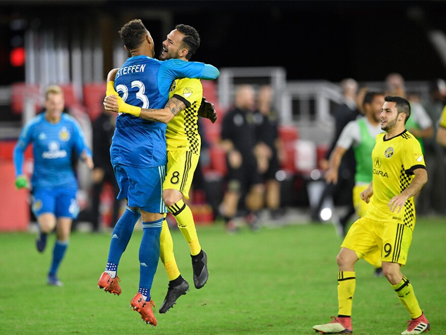 Columbus CrewColumbus Crew SC goalkeeper Zack Steffen (23) celebrates with midfielder Artur (8) and defender Milton Valen players celebrate the game-winning goal after an MLS playoff soccer game against Atlanta United, in Atlanta, Thursday, Oct. 26, 2017.