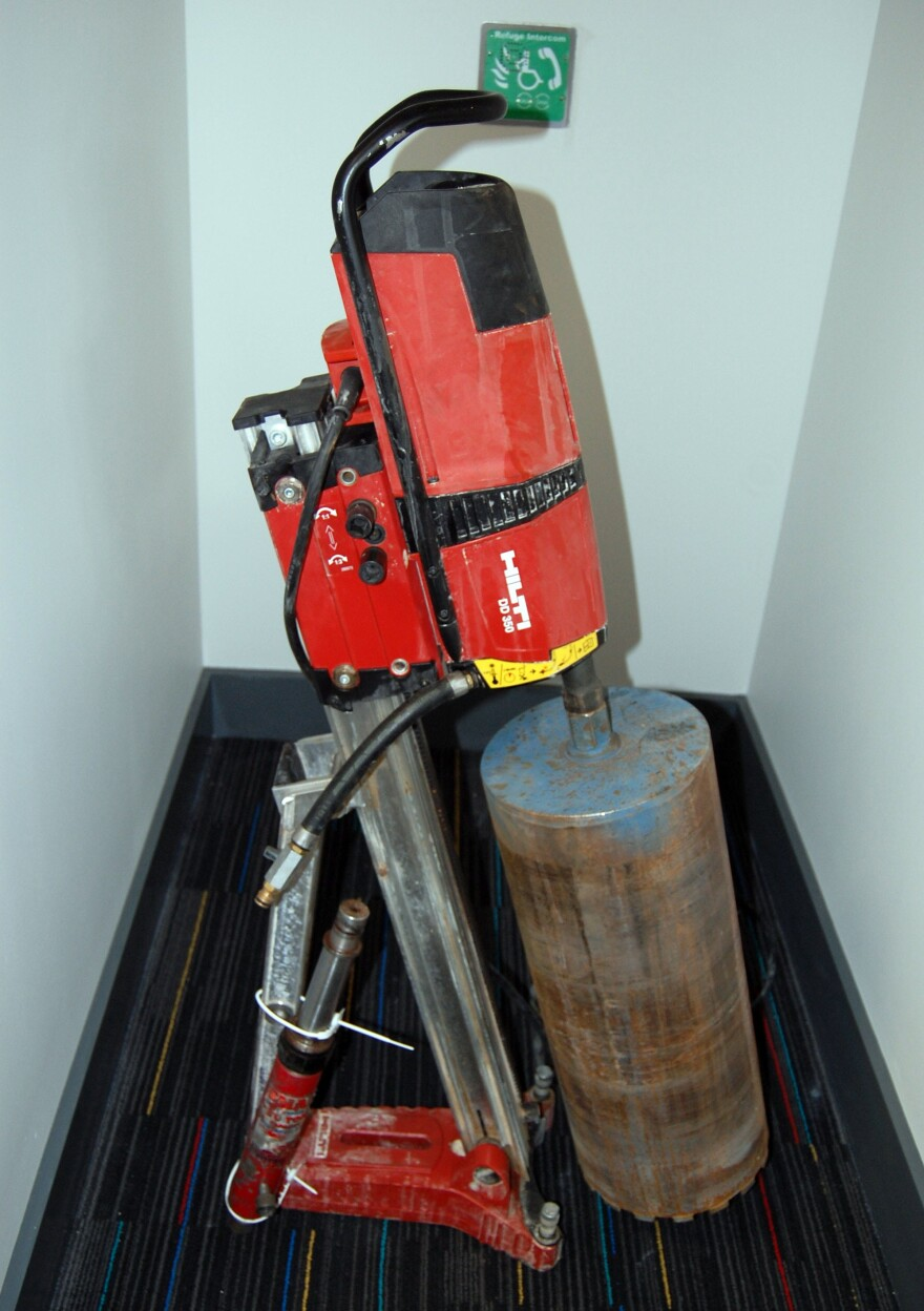 A photo issued by Britain's Metropolitan Police shows a heavy drill used by thieves during the Hatton Garden Safe Deposit company raid.