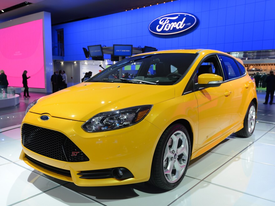 A Ford Focus ST was on display at the 2013 North American International Auto Show in Detroit in January.