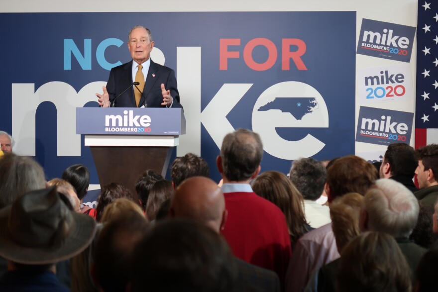 Democratic presidential hopeful and former New York Mayor Michael Bloomberg campaigned in North Carolina on January 3, 2020.