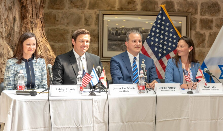 The Florida Cabinet - Attorney General Ashley Moody, Gov. Ron DeSantis, CFO Jimmy Patronis and Agriculture Commissioner Nikki Fried - met in Israel Wednesday morning.