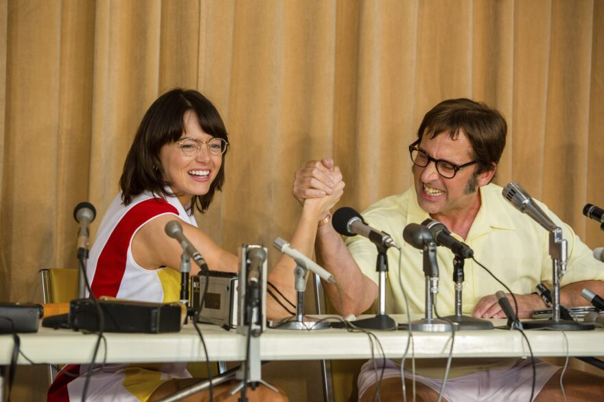 "This image released by Fox Searchlight Pictures shows Emma Stone, left, and Steve Carell in a scene from ""Battle of the Sexes."" The story of the early days of the tour and King's fight for equal prize money is chronicled in the movie. (Melinda Sue Gordon/Fox Searchlight Pictures via AP, File)"