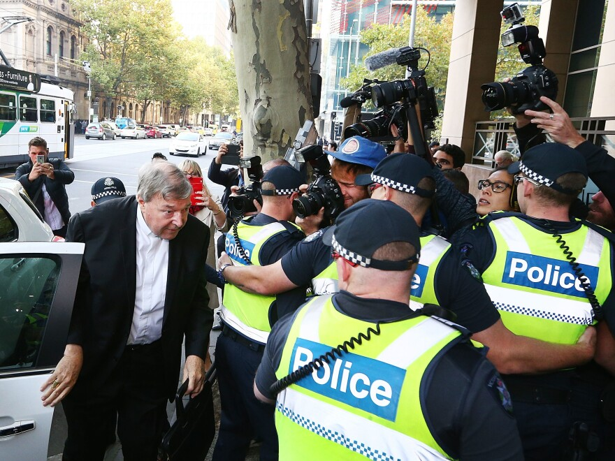 Cardinal George Pell arrives at Melbourne Magistrates' Court on Tuesday in Melbourne, Australia.