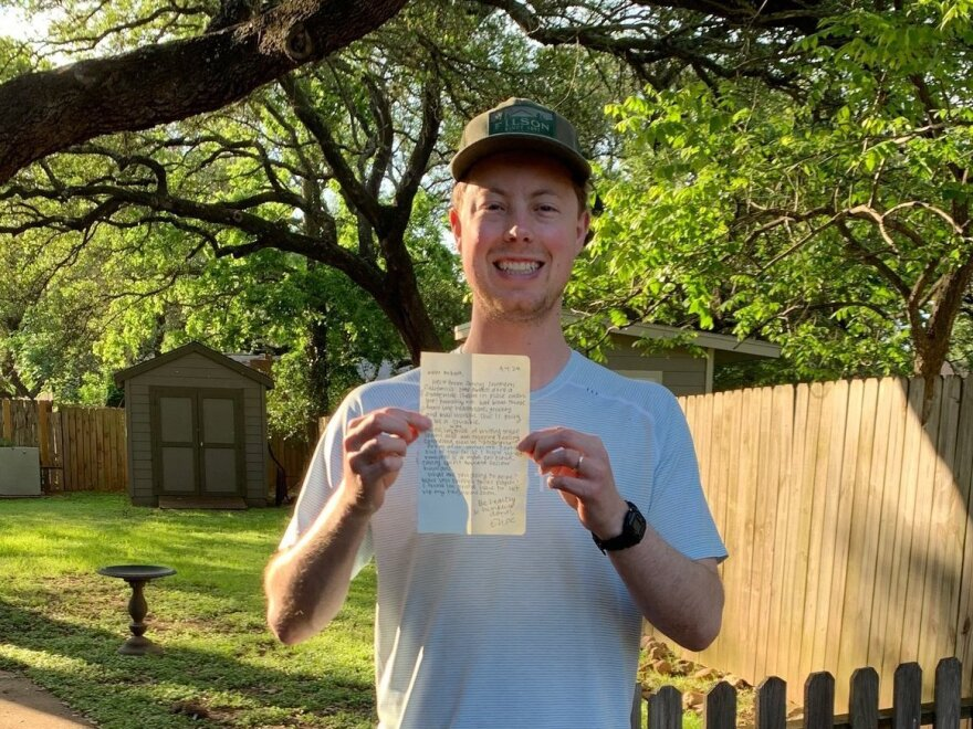 Robert Howard in Austin, with the letter I sent him.
