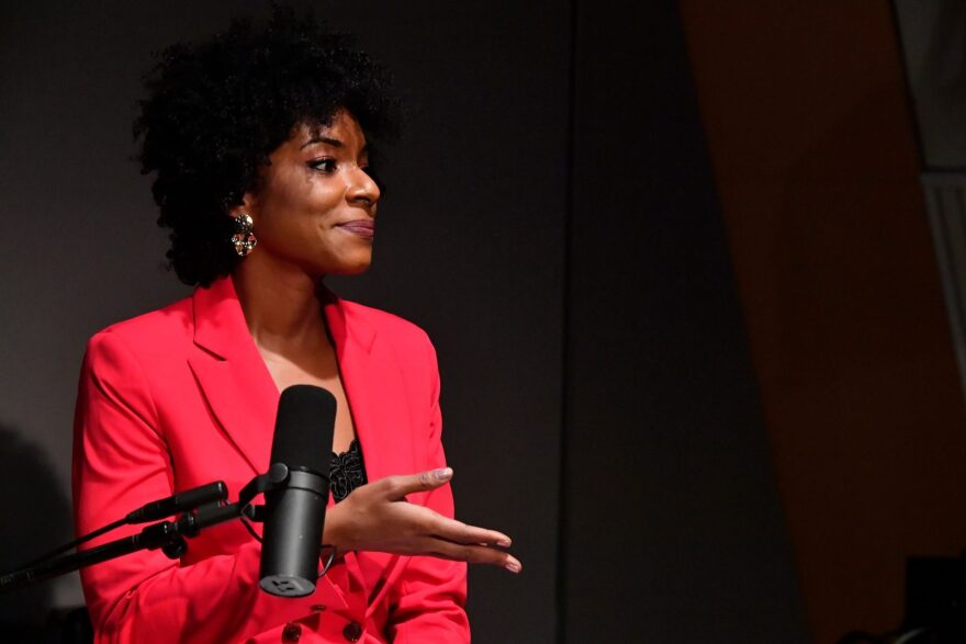 Host Zerlina Maxwell appears in a discussion on the work of the Congressional Black Caucus at SiriusXM Studio in Washington, DC.